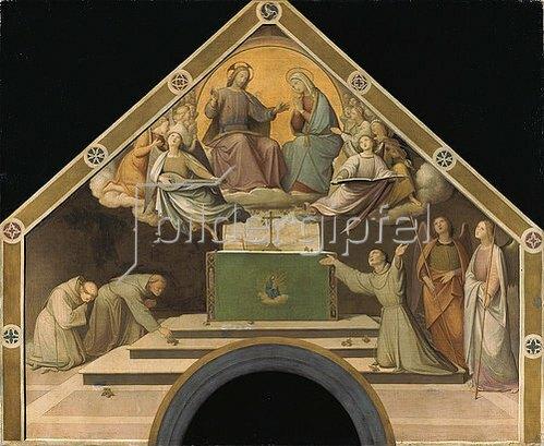 Johann Friedrich Overbeck: Das Rosenwunder des hl. Franz von Assisi. Farbskizze für die Portiuncula-Kapelle.