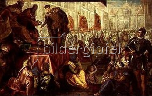 Tintoretto (Jacopo Robusti): Erhebung des Giovanni Francesco Gonzaga zum Markgrafen von Mantua 1433. Gonzaga-Zyklus I.