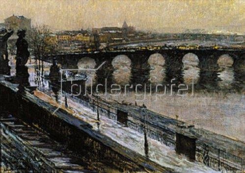 Gotthard Kuehl: Die Augustusbrücke in Dresden im Winter.