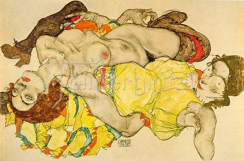 Egon Schiele: Zwei Mädchen in verschränkter Stellung liegend. 1915.