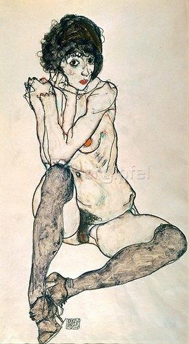Egon Schiele: Sitzender Mädchenakt. 1914