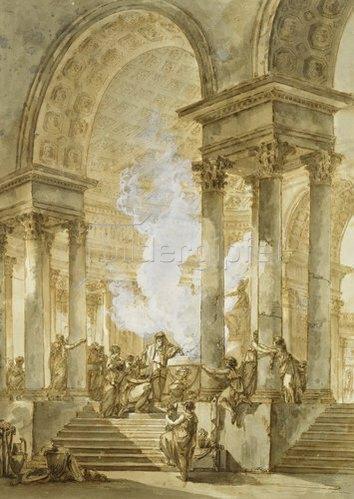 Giuseppe (Joseph) Quaglio: Das Opfer im Tempel.