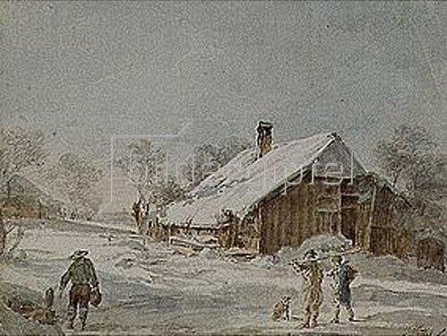 Johann Georg von Dillis: Verschneite Häuser.