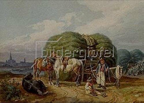 Johann Adam Klein: Erntewagen (mit Ansicht von Wien im Hintergrund). 1845.