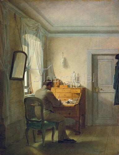 Georg Friedrich Kersting: Mann, an einem Schreibtisch arbeitend.