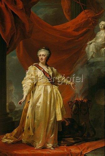 Dimitrij Grigorjew Lewizkij: Katharina II. als Gesetzgeberin im Tempel der Gerechtigkeit. Um 1780.