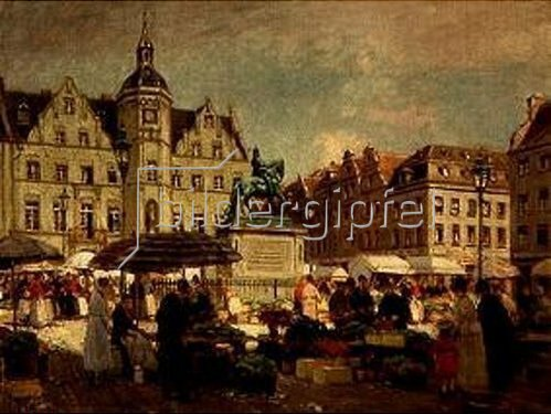 Heinrich Hermanns: Markt am Jan Wellem in Düsseldorf.