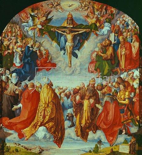 Albrecht Dürer: Das Allerheiligenbild. Anbetung der Dreifaltigkeit als Vision einer Civitas Die. 1511