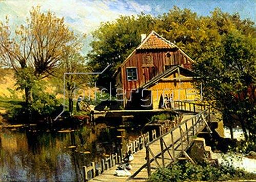 Peder Moensted: Wassermühle am Saeby-Fluss. 1922.