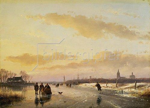 Andreas Schelfhout: Eisvergnügen. 1855