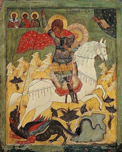 Ikone russisch: Das Drachenwunder des hl.Georg.