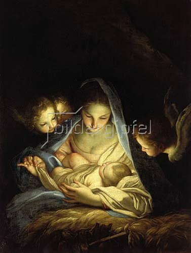 Carlo Maratta: Maria mit dem Christkind, über die Krippe gebeugt.