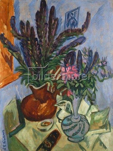 Ernst Ludwig Kirchner: Stilleben mit Blumenvasen.