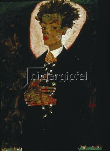 Egon Schiele: Selbstbildnis mit Pfauenweste, stehend. 1911.