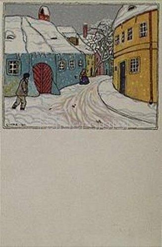 Carl Krenek: Wiener Vorortgasse im Winter. Karte der Wiener Werkstätten, No.909