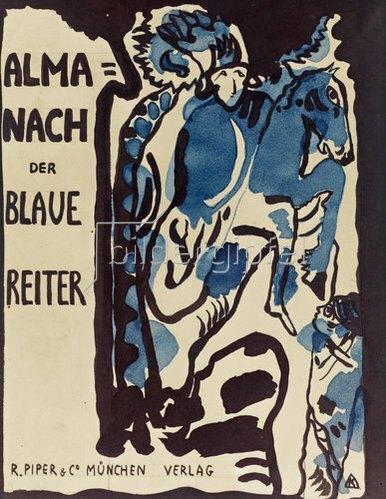 Wassily Kandinsky: Endgültiger Entwurf für den Umschlag des Almanachs Der blaue Reiter. 1911