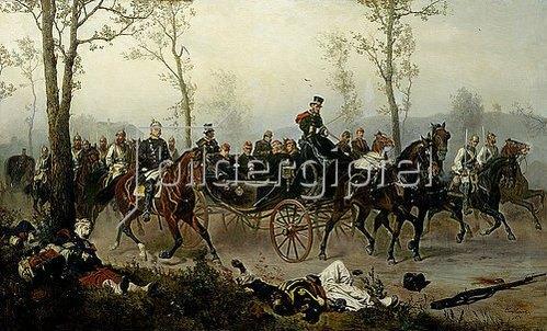 Wilhelm Camphausen: Napoleon III. und Bismarck auf dem Wege nach Paris. 1876.