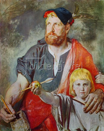 Ernst Stückelberg: Wilhelm Tell (Farbskizze für die Fresken der Tellskapelle am Vierwaldstättersee).