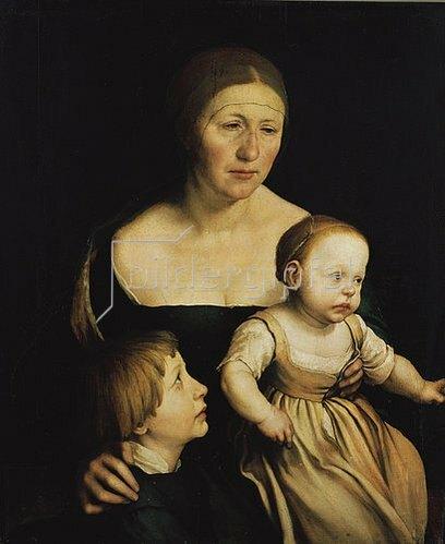 Hans Holbein d.J.: Familienbildnis. Die Frau des Künstlers mit den beiden älteren Kindern.