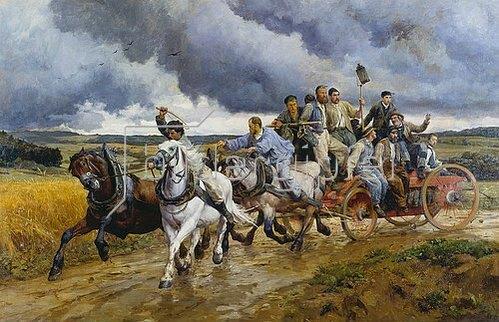 Eugene Burnand: Die Dorffeuerwehr auf dem Wege zum Brandherd. 1880.