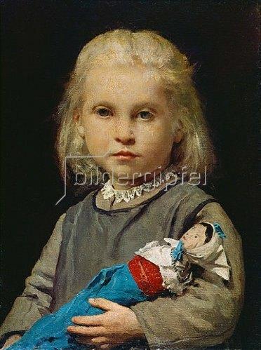 Albert Anker: Mädchen mit Puppe.