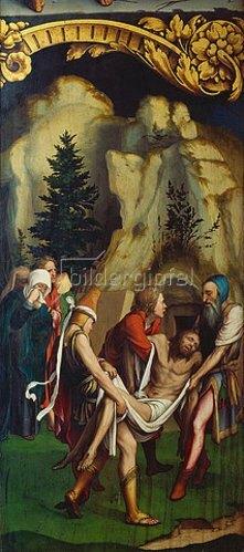 Hans Holbein d.J.: Die Grablegung Christi. Rechte Tafel unten des Passionsaltars. 1524(?).