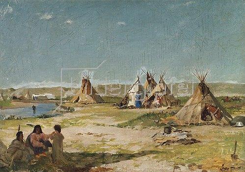 Frank Buchser: Zeltlager der Indianer in Wyoming.