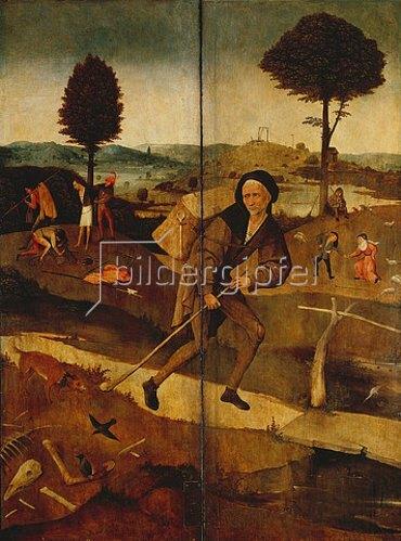 Hieronymus Bosch: Der verlorene Sohn. Außenseiten der Flügel zum Heuwagen.