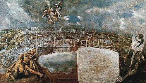 Greco El (Dominikos Theotokopoulos): Ansicht und Plan von Toledo. Um 1610-14