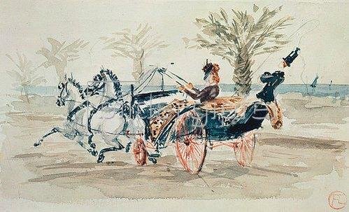 Henri de Toulouse-Lautrec: Ausfahrt im Zweispänner.