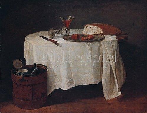 Jean-Baptiste Siméon Chardin: Brot, Wurst und zwei Weingläser auf einem runden Tisch.