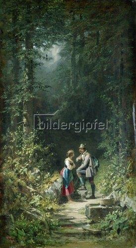 Carl Spitzweg: Begegnung im Walde (Jäger und Sennerin). Um 1858