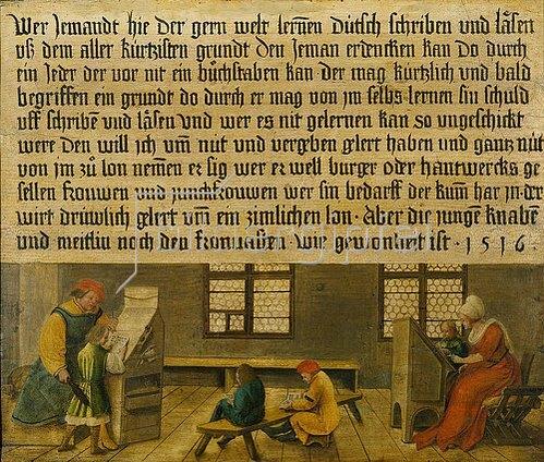 Ambrosius Holbein: Ein Schulmeister und seine Frau bringen drei Knaben und einem Mädchen das Lesen bei. 1516
