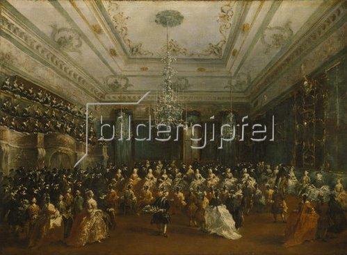 Francesco Guardi: Venezianisches Galakonzert (in der Sala dei Filarmonici). 1782