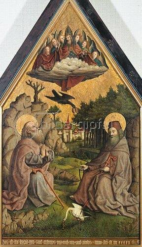 Baseler Meister: Die Speisung der heiligen Einsiedler Antonius und Paulus. 1445