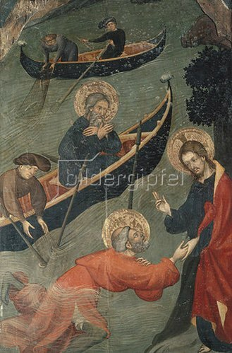 Luis Borrassá: Der wundersame Fischzug Petri. Tafel des Petrus-Altars aus Tarrassa.