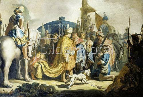 Rembrandt van Rijn: David übergibt König Saul das Haupt Goliaths.