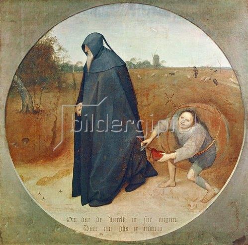 Pieter Brueghel d.Ä.: Der Misanthrop (oder: Die Treulosigkeit der Welt). 1568.