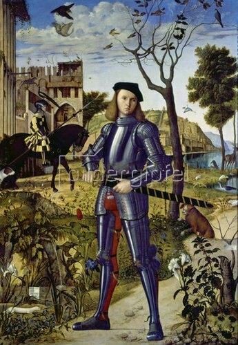 Carpaccio/Scarpazza: Ritter in einer Landschaft stehend. 1510
