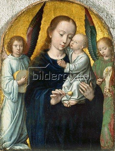 Gerard David: Maria mit dem Kinde zwischen musizierenden Engeln. 1490/95
