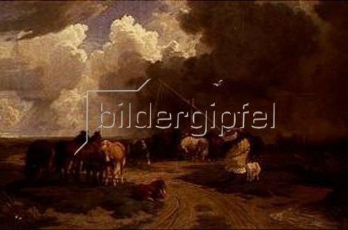 Károly Lotz: Pusztalandschaft mit Pferdeherde und aufziehendem Sturm. 1862