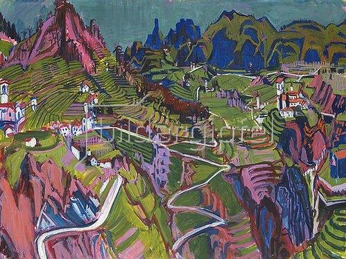 Albert Müller: Tessiner Landschaft mit Weinbergen.1925.