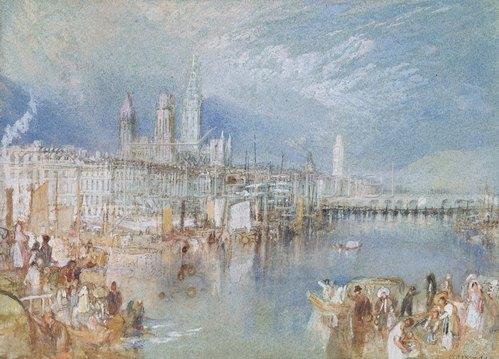 Joseph Mallord William Turner: Ansicht von Rouen, Fluss aufwärts.