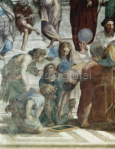 Raffael (Raffaello Sanzio): Die Schule von Athen. Detail: Euklid (rechts mit Globus: Ptolemaios).