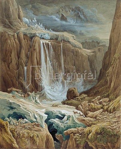 Samuel Birmann: Wasserfall zwischen zwei Gletschern.