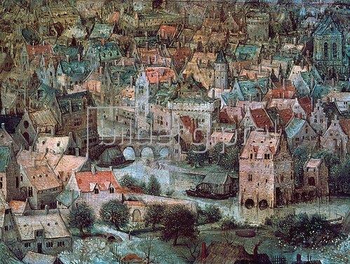 Pieter Brueghel d.Ä.: Der Turmbau zu Babel. Detail: Häuser.