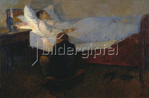 Georg Jauss: Am Krankenbett. Gegen 1890.