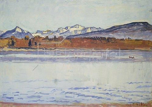 Ferdinand Hodler: Die schneebedeckte Montblanc-Kette. 1918