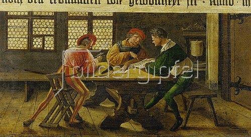 Ambrosius Holbein: Schulmeister erklärt zwei des Lesens unkundigen Gesellen ein Schriftstück. 1516