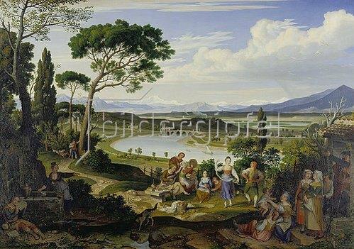 Joseph Anton Koch: Tiberlandschaft bei Rom mit ländlichem Fest. 1818